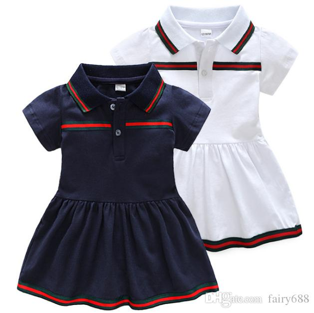Retail new summer baby dresses Cotton lapel dress for children Newborn clothes 9 months -3 years old