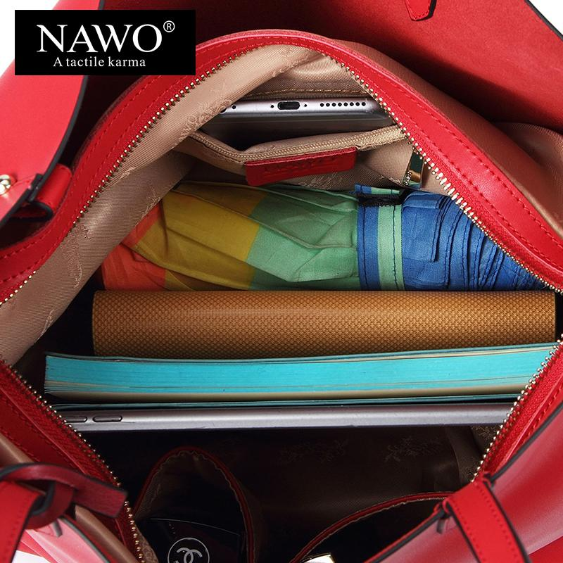 a8ba34d14590 Wholesale NAWO Red Casual Women Tote Bags Large Capacity Leather Handbags  New Fashion Famous Designer Brand Ladies Shoulder Shopping Bags Laptop Bags  For ...