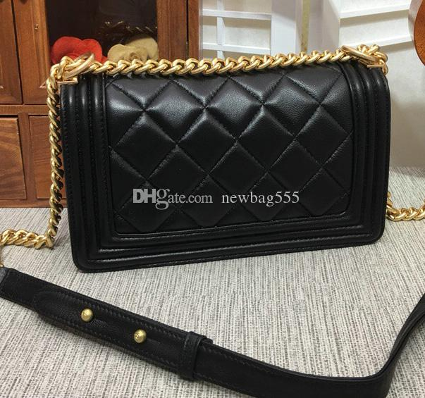 Classic Vintage 25cm Handbag Women Luxury Lambskin Real Leather Shoulder Bag  Acrossbody Bags Antique Silver   Gilding Chain Boy Bags Quilted Satchel  Laptop ... c9eef6ec5667