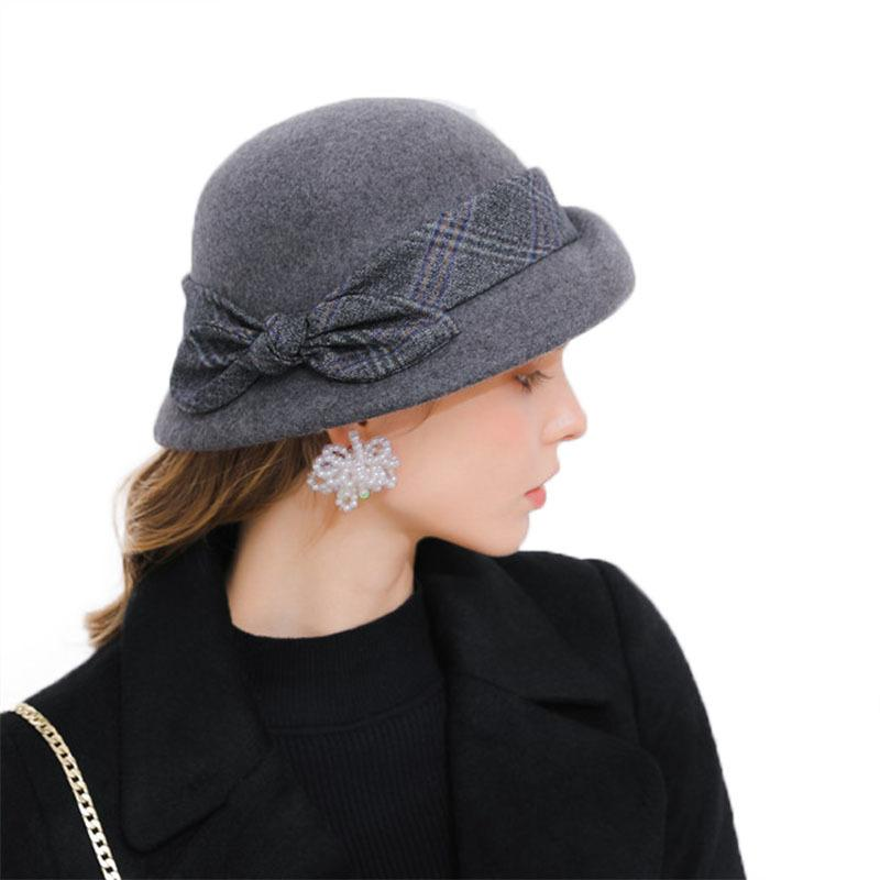 015a1611c62 Elegant Bowknot Ladies Wool Felt Bowler Black Pink Fedora Hats For Women  Wide Brim Vintage Floppy Winter Church Cloche Hats M61 D19011102 Fedora Hats  For ...