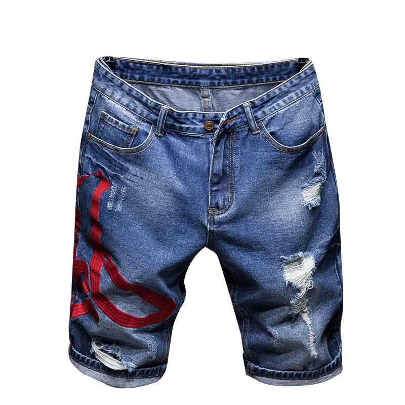 Sokotoo Men's Chinese embroidered ripped shorts Summer holes ripped knee length straight denim jeans