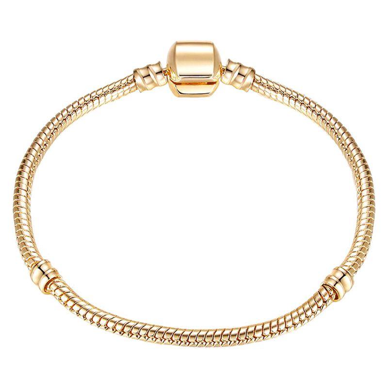 CUTEECO Alta Calidad de Plata de Color Oro Charm Bracelet Moda Europea Cadena de la Serpiente Fit Pandora Pulsera Para Las Mujeres joyería