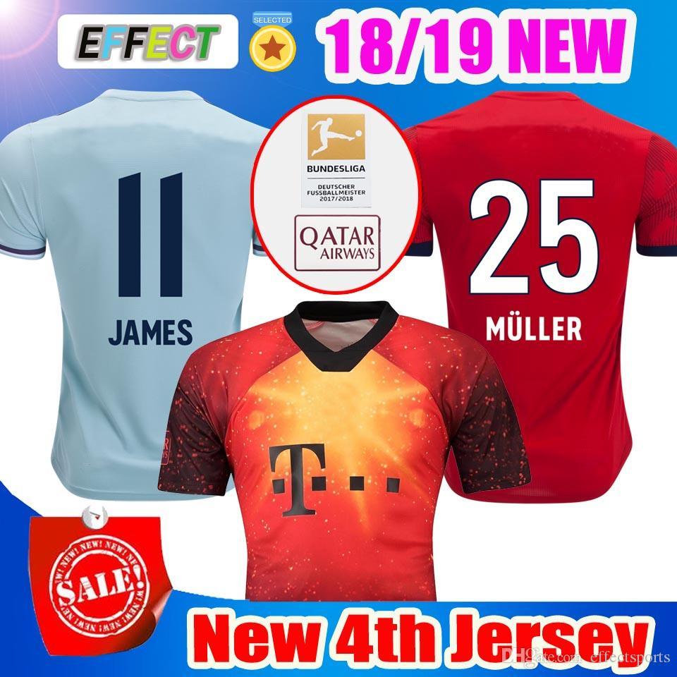 51db256506cf2 Tailandia Bayern Munich 4º EA DEPORTES JAMES Camisetas De Fútbol 2018 2019  LEWANDOWSKI MULLER KIMMICH Camiseta 18 19 HUMMELS Uniforme De Camiseta Por  ...