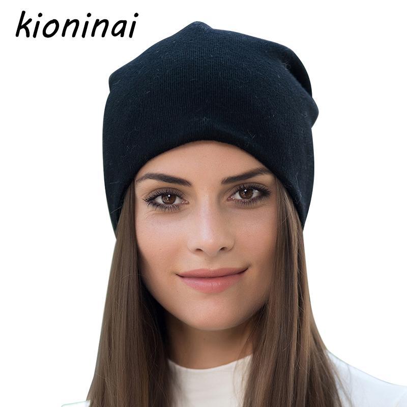 734fb393a67a8e 2019 Kioninai 2018 New Brand Winter Hat Women Knitted Hat Beanies ...