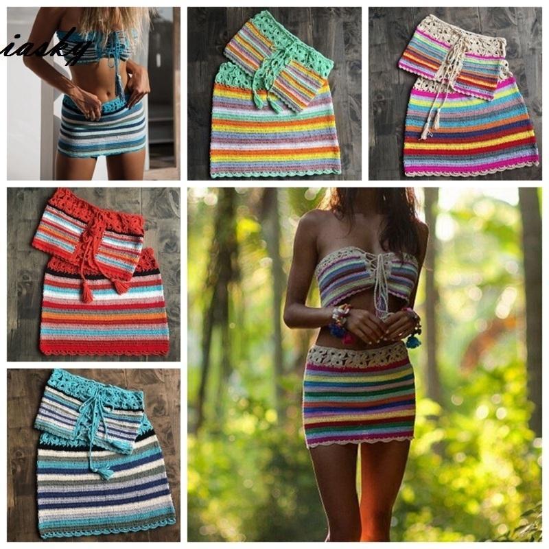 68713247aea74 Iasky 2pcs/set Handmade Colorful Striped Crochet Bikini Top+ Skirt Beach  Cover Up Set Sexy Women Swimsuit Swimwear Cover Ups Y19060301