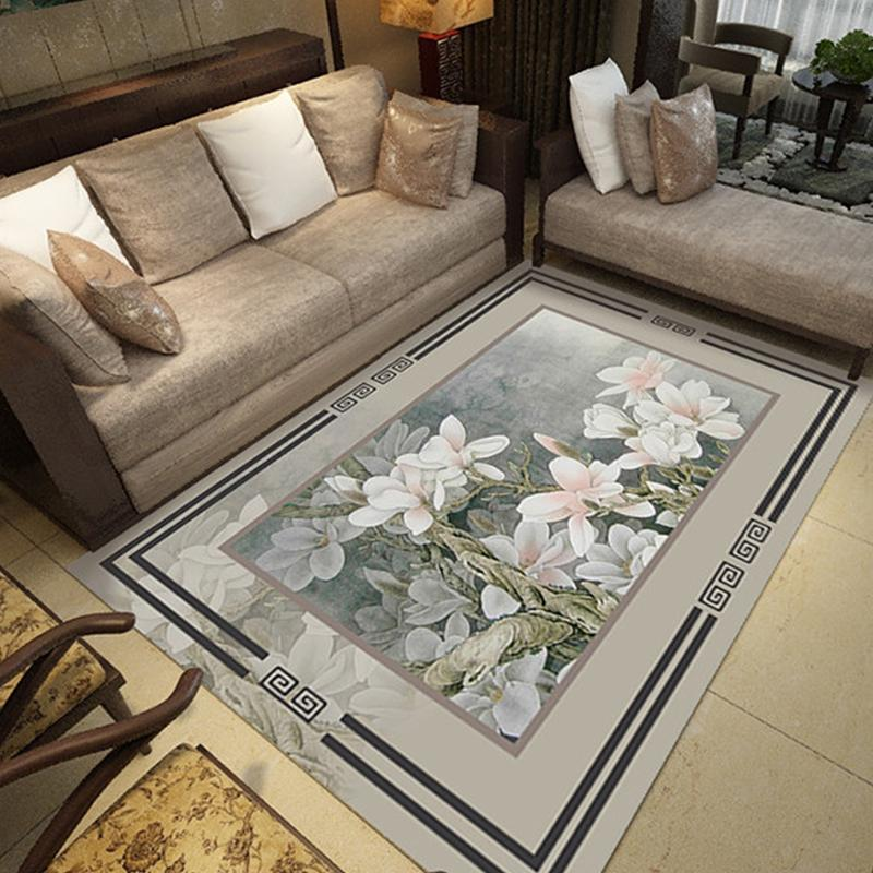 3D Carpet for Living Room Mat Rug Chinese Style Flower Bird Sofa Large Carpets Study/Bedroom Bedside/Balcony Home Decoration Rug