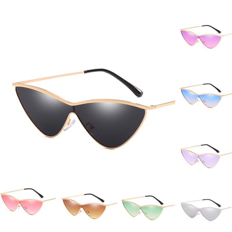 f48274ea11c 2019 New Cat Eye Sunglasses Shiny Gold Frame Fashion High Quality ...