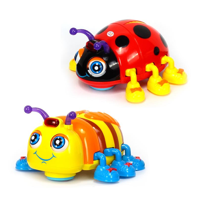HOLA 82721 Baby Toys Infant Crawl Beetle Electric Toy Bee Ladybug with Music & Light Learning Toys for Children Xmas Gifts SH190913