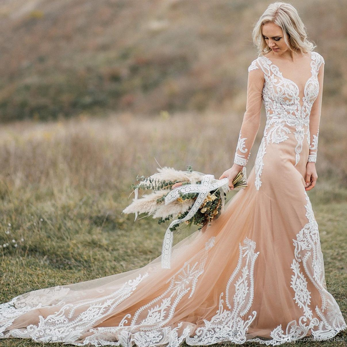 Boho Wedding Dresses With Nude Underlay Champagne Nude Tulle Bridal Gowns With Ivory Lace Appliques Bridal 2019