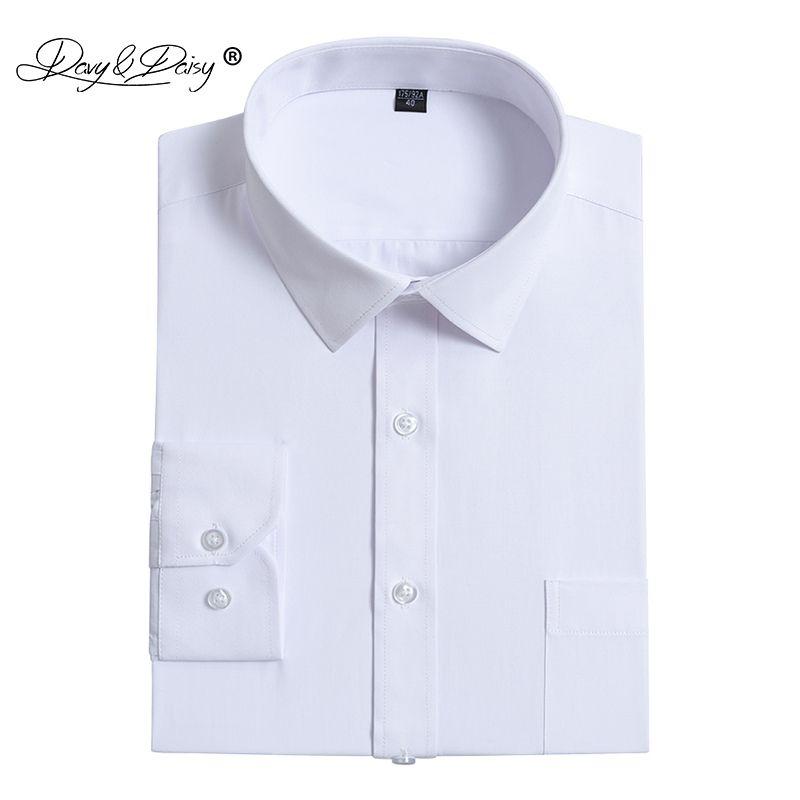 12a668d6f3ca Compre DAVYDAISY Hombres Camisa 2019 Nueva Llegada Primavera Sólido Manga  Larga Hombre Camisas Moda Blanca Causal Slim Fit Camisa Masculina DS288 A   22.08 ...