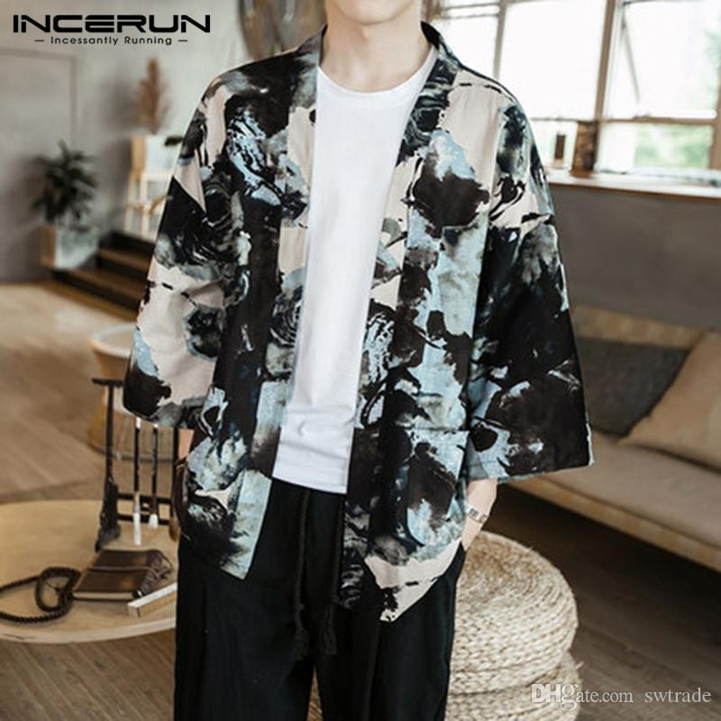 9206da7f 2019 Vintage Chinese Shirt Men Cloak Kimono Shirts Open Stitch Shirt  100%Cotton Floral Cardigan Trench 5XL Femininas Chemise Camisas #462653  From Swtrade, ...