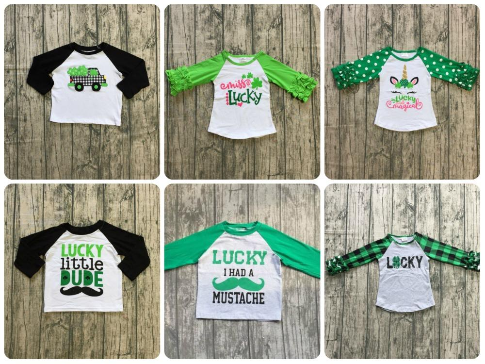 1c3f7b69 St. Patrick's Day baby girls boys unicorn shamrocks cotton boutique top T- shirt raglans clothes ruffles icing long sleeve luck