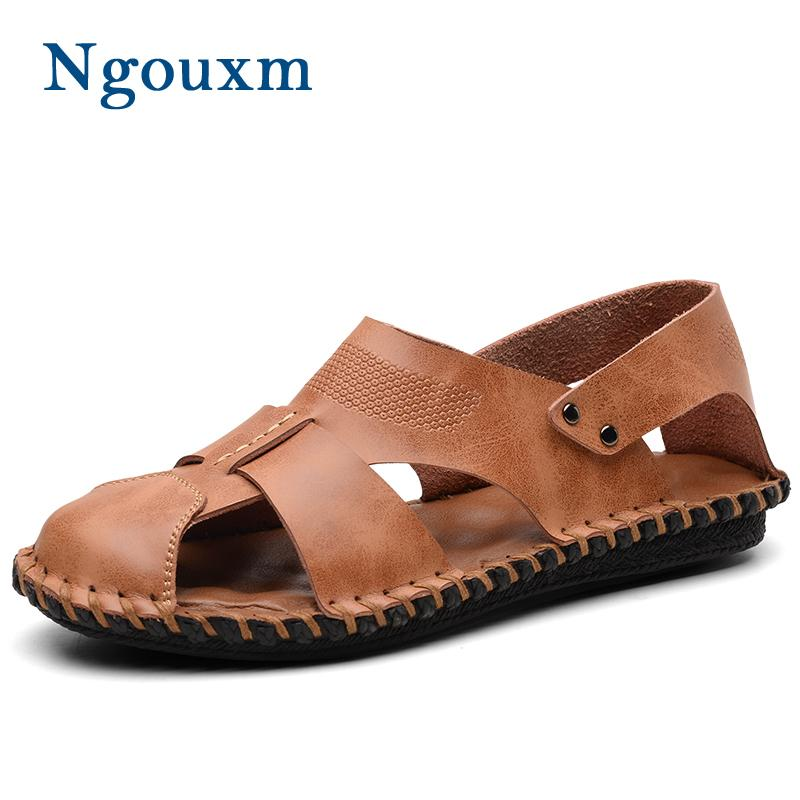 3a0315184857 Ngouxm Summer High Quality Men Sandals Handmade Comfortable Leather ...