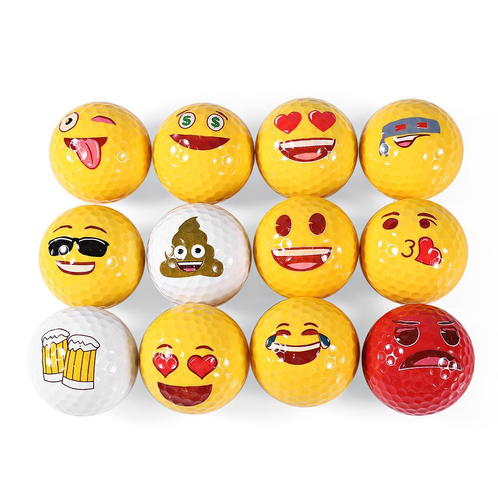 Wholesale-12pcs Emoji Funny Cute Golf Ball Accessory Gift Rubber Surlyn for Golfing Game Training Kids Golfers