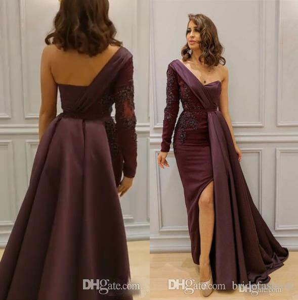 ed71b35e9 One Shoulder Elegant Evening Formal Dresses 2019 Abendkleid Lace Applique  Sexy Split Side Formal Dress Long Sleeves Burgundy Prom Dress Very Evening  Dresses ...