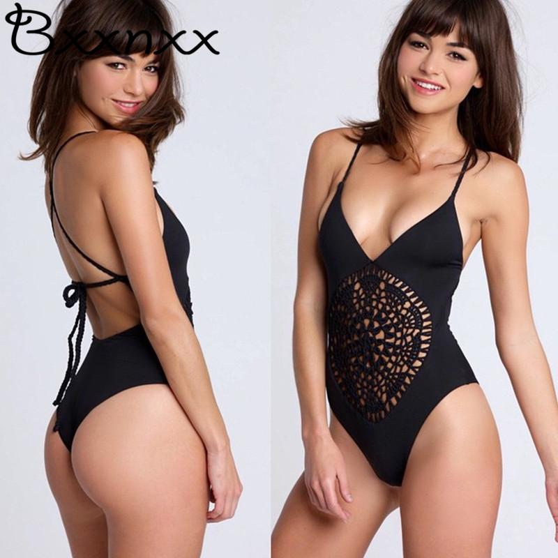 2019 White Black Crochet Braided Sexy Thong One Piece Swimsuit Women