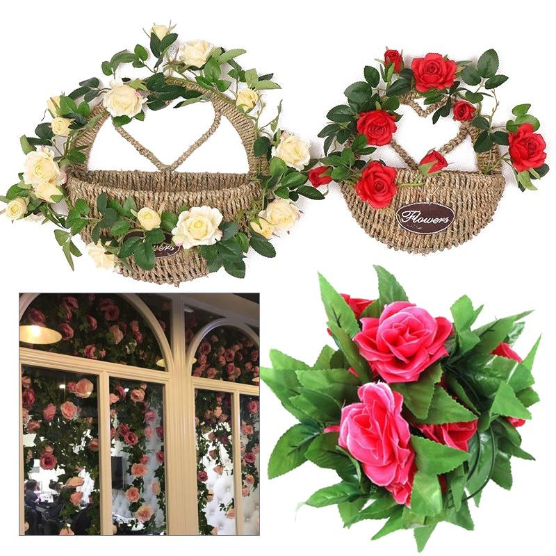 Landscaping Necessary Wedding Decoration Festive 9 Heads Rose 2.45M Rose Flower String Simulation Vines