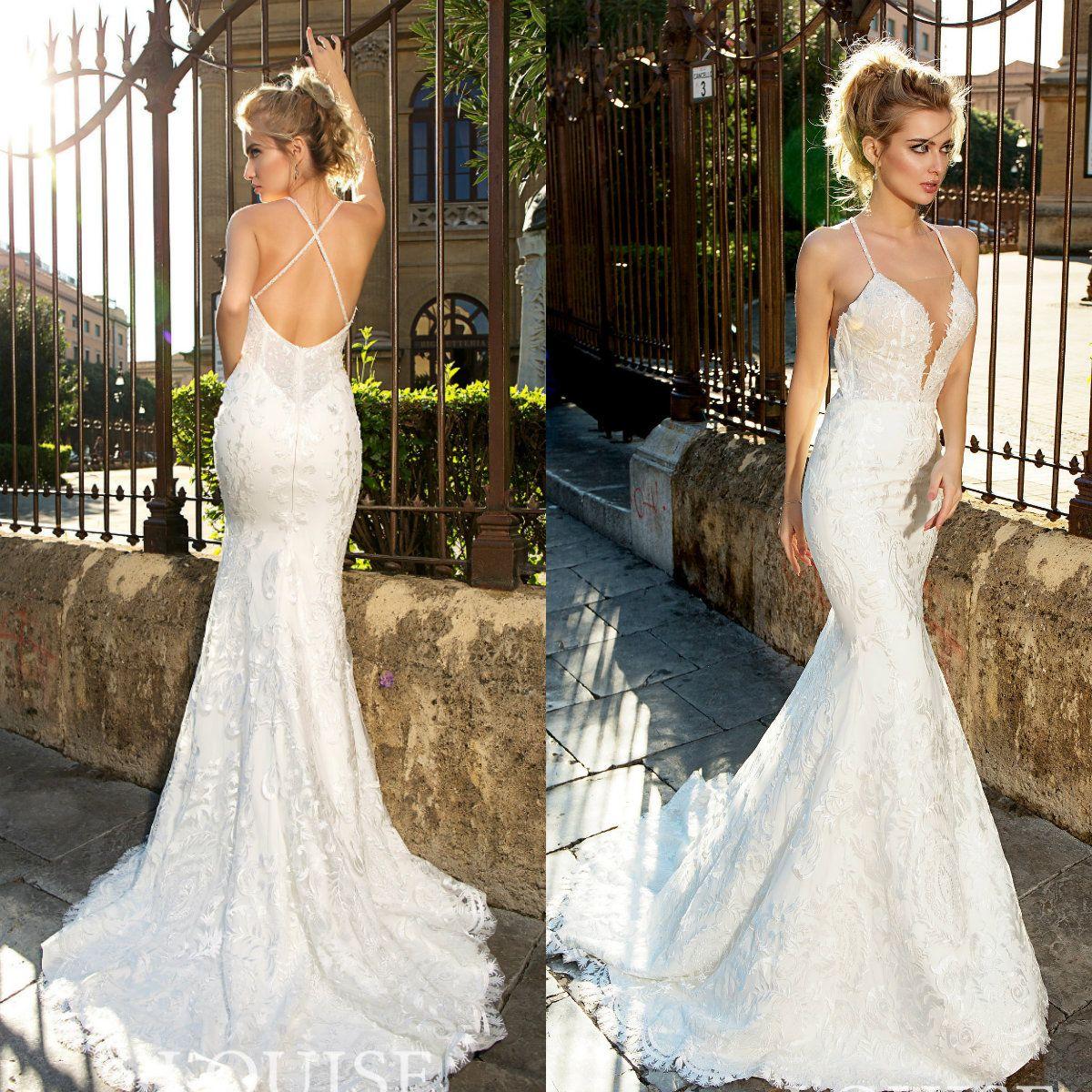 340ead37fefd Louise Sposa Sexy Mermaid Wedding Dresses Spaghetti Straps Lace Applique  Backless Sweep Train Bridal Gowns Custom Made Vestido De Novia Mermaid Tail  Wedding ...