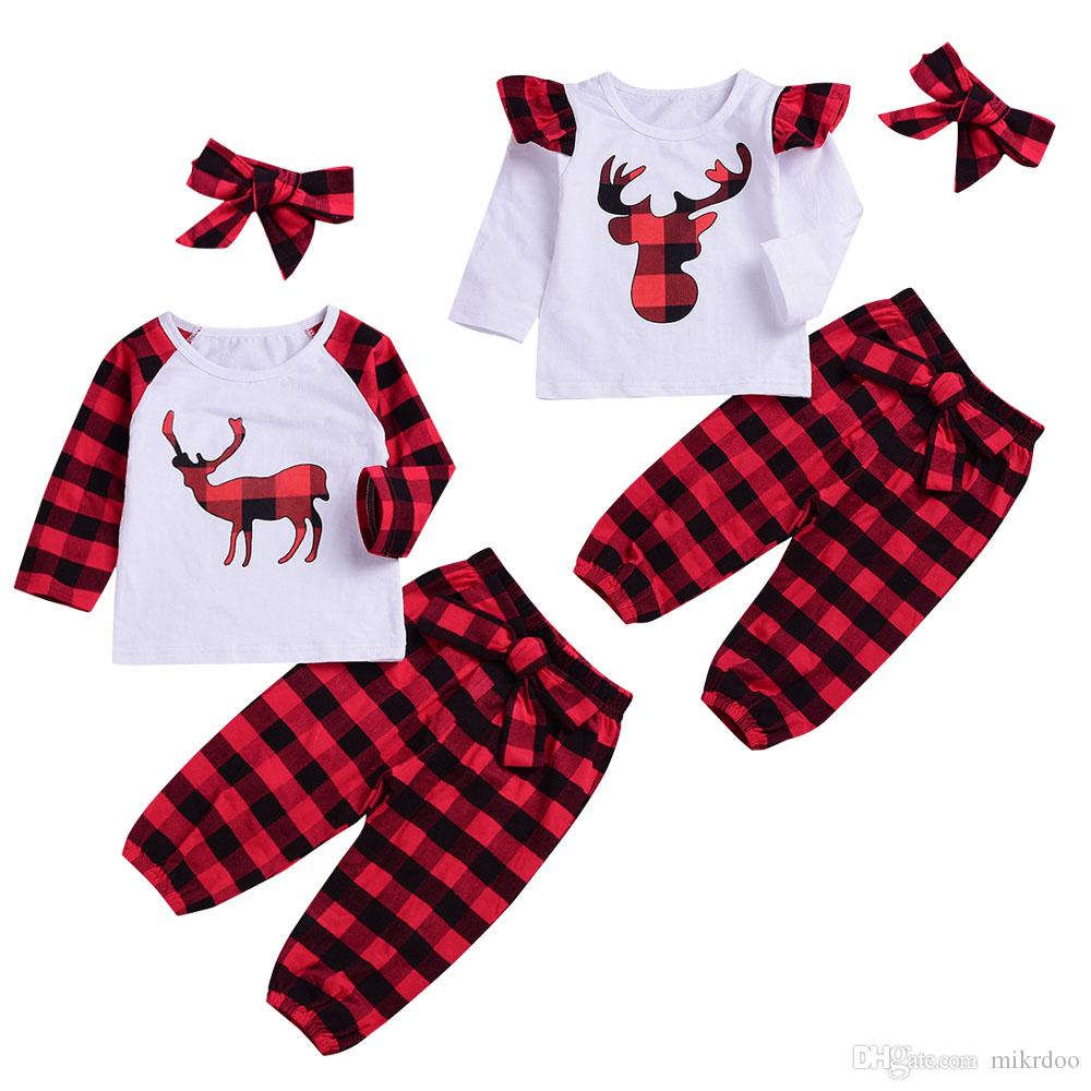0d21c5d64788 2019 Mikrdoo Newborn Toddler Baby Christams Clothes Set Deer And Plaid Print  Long Sleeve T Shirt Top Long Pant With Hat Outfits Sets From Mikrdoo