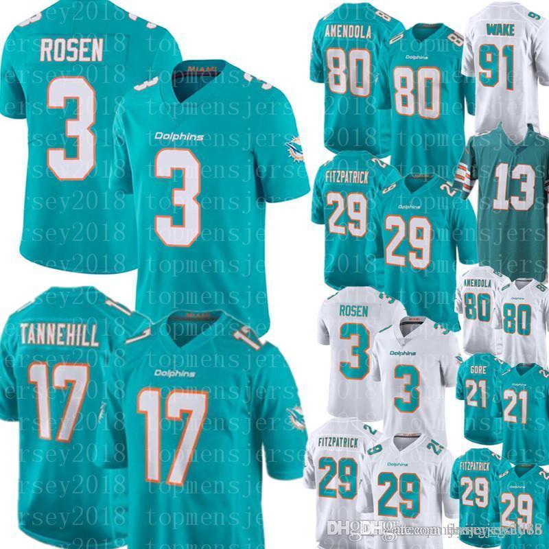 big sale 271e1 2b9f3 3 Josh Rosen Miami Men s Dolphins Jersey 29 Minkah Fitzpatrick 80 Danny  Amendola 21 Frank Gore 17 Ryan Tannehill 13 Dan Marino Football