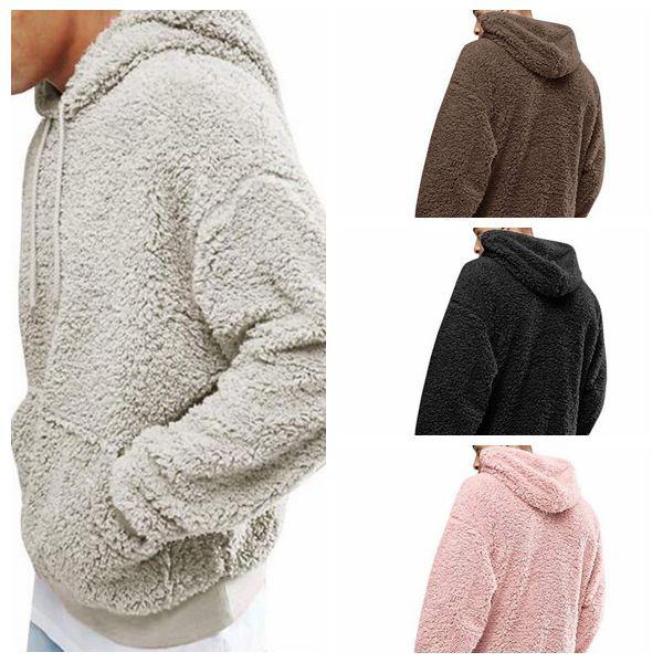 a5203f9340df 4 Farben Sherpa Pullover Hoodies Plüsch Fleece Pullover Herbst Winter  Langarm Furzzy Sweatshirts Teenager Hip Hop Hoodies CCA10802 12 stücke