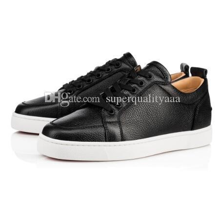 Elegant Lowtop Rantulow Flat Women,Men Red Bottom Sneakers Shoes White,Black Leather Outdoor Casual Walking Luxury Fashion Leisure EU35-46