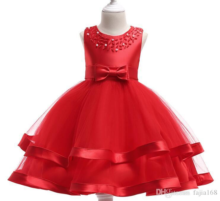 2019GG European and American fashion princess dress bow flower girl dress skirt gold thread embroidery girl cotton dress