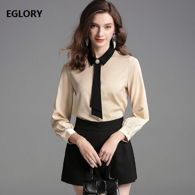 4d88b590edb 2019 Bow Tie Elegant Blouses 2019 Spring Summer Fashion Shirt Women Turn  Down Long Sleeve Shirt Blouse Office Work Lady Shirts Blusa From Masue