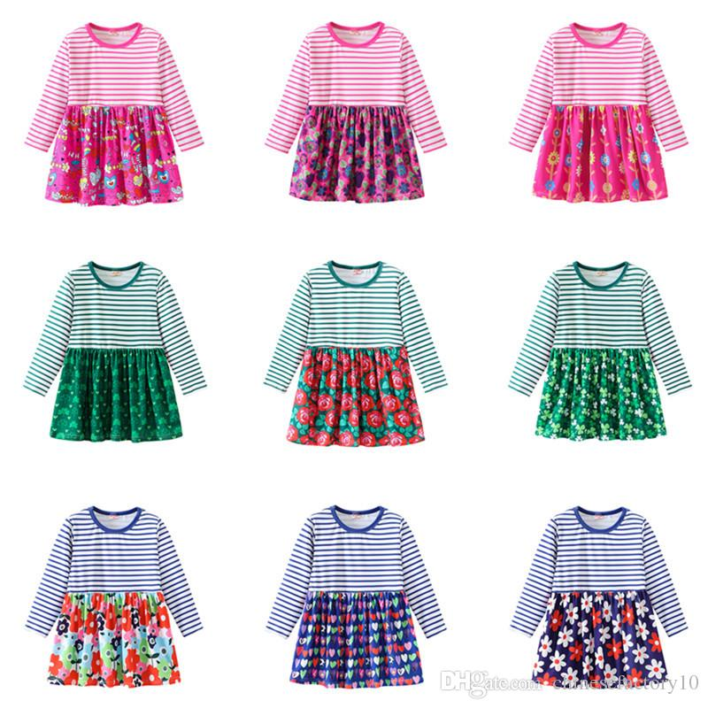 ae6d8c2495521 Baby Girl Dresses Kids Girls Floral Stripe Dress Long Sleeves Flower  Printed Boutique Clothing 2019 Spring Cotton 18 Colors