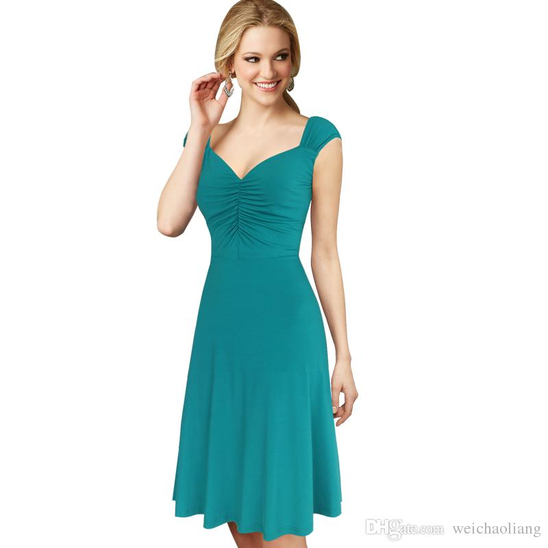 9fde97cde2dd4 Lcw New Design Women Celebrity Sexy Elegant Ruched Draped Pleated Vintage  Tunic Work Office Evening Party A Line Skater Dress