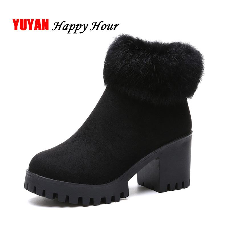 12502abf226 Winter High Heels Shoes Women Square Heel Boots Warm Plush Shoes Women s  Boots Ladies Winter Thick Heel 7.5cm YX531