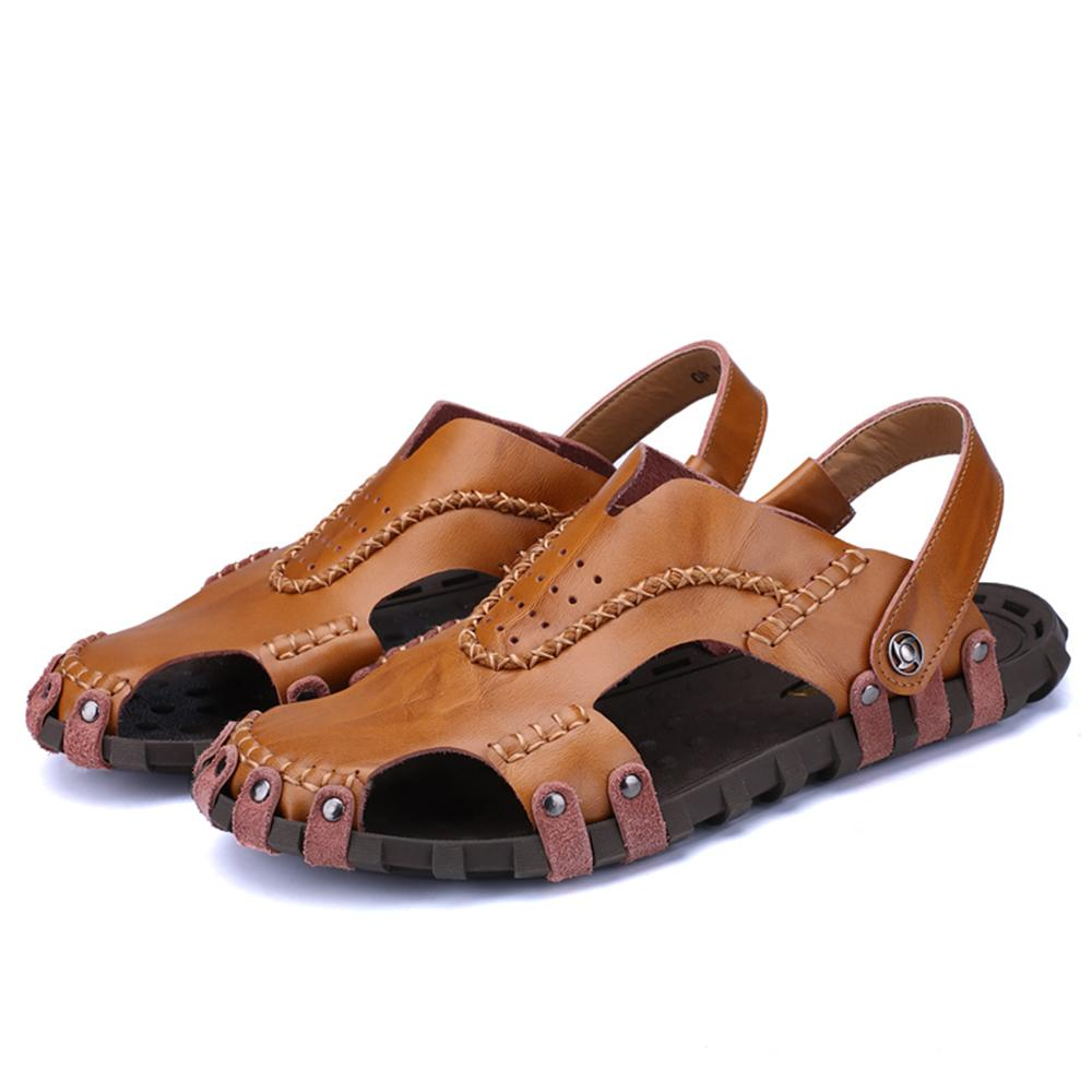 55990fd0a188e Genuine Leather Sandals Outdoor Sneakers Men Summer Causal Shoes Beach Flip  Flops Rubber Non-slip Slippers Breathable Online with  119.77 Pair on  Emmaj01 s ...
