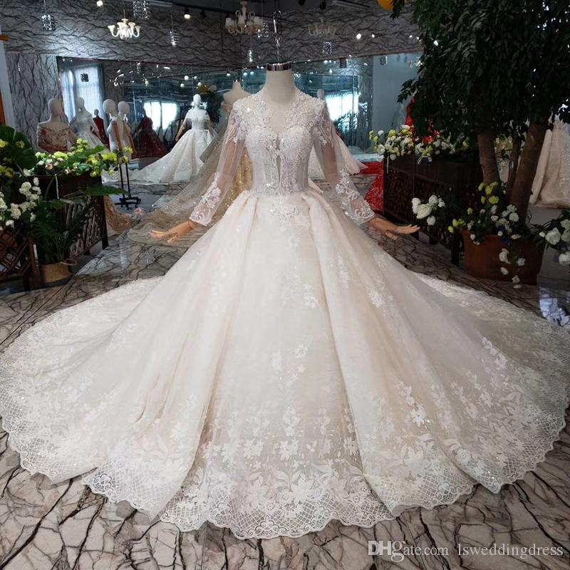 a6b3f70e20 2019 Newest Design Lebanon Wedding Dresses Long Illusion Sleeve Lace Up  Back Luxury Wedding Gowns 200cm Train Detail Applique Bridal Gowns