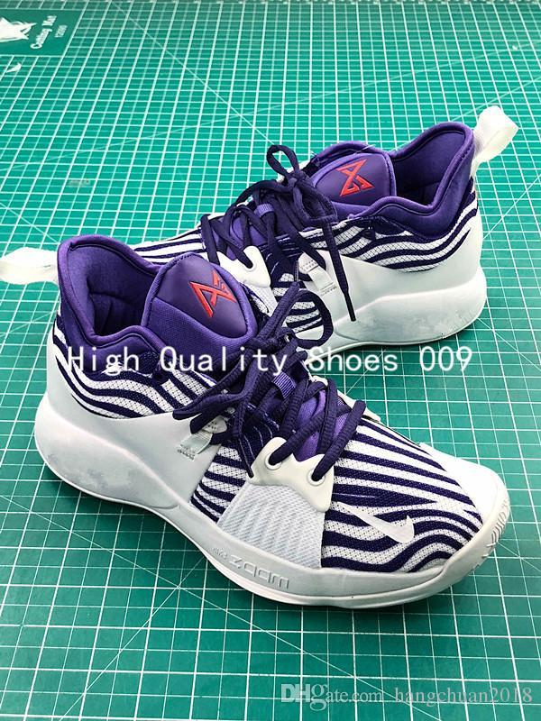 best website 9196f 43c44 with box Uptempo Paul George 2 White Purple Zebra Basketball Shoes AAA+  quality for Mens PG II 2s PG2 Trainers Designer Shoes Size 40-46