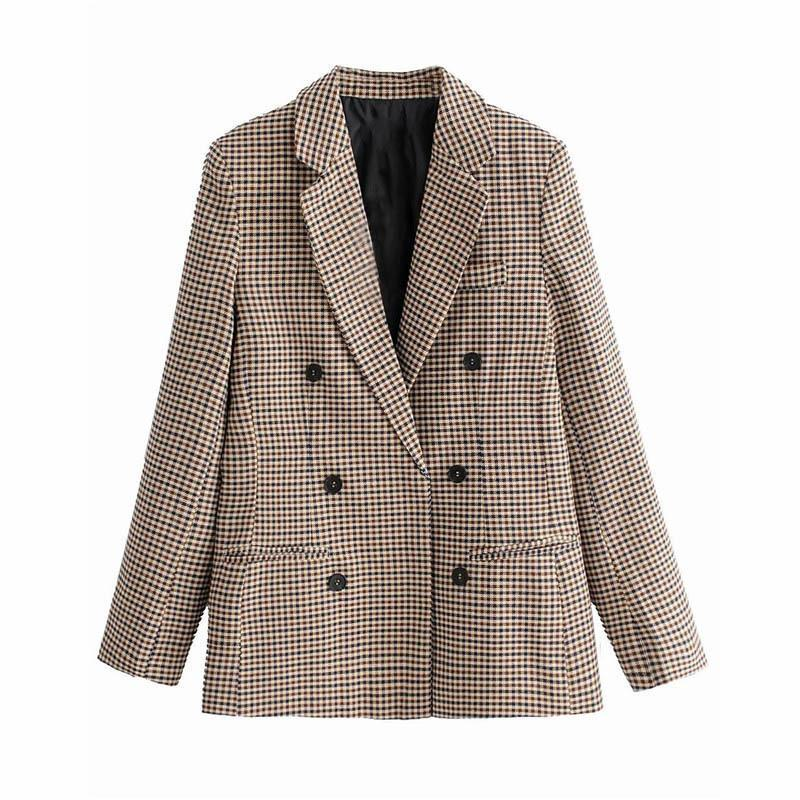 fashion Fashion clothes Wind Ma'am Checked Double Row Buckle Suit Loose Coatd