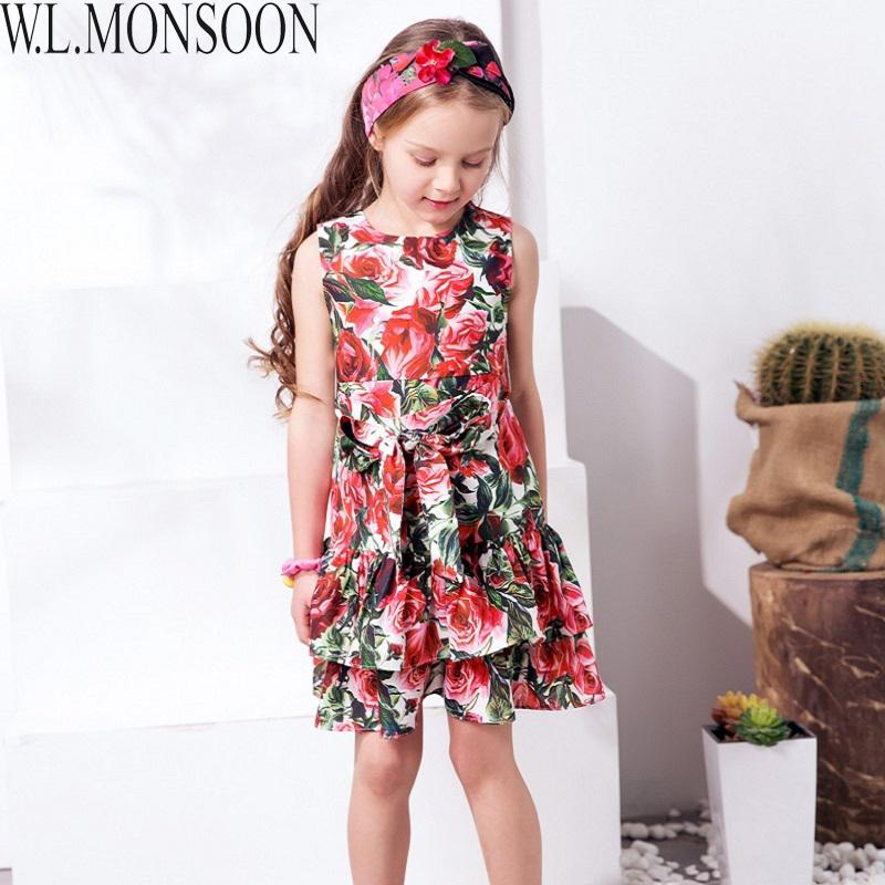 f7b3b4211d56a W.L.MONSOON Princess Dress with Bow 2019 Girls Summer Dresses Kids Clothes  Rose Flower Disfraz Princesa Children Costumes 3-12Y