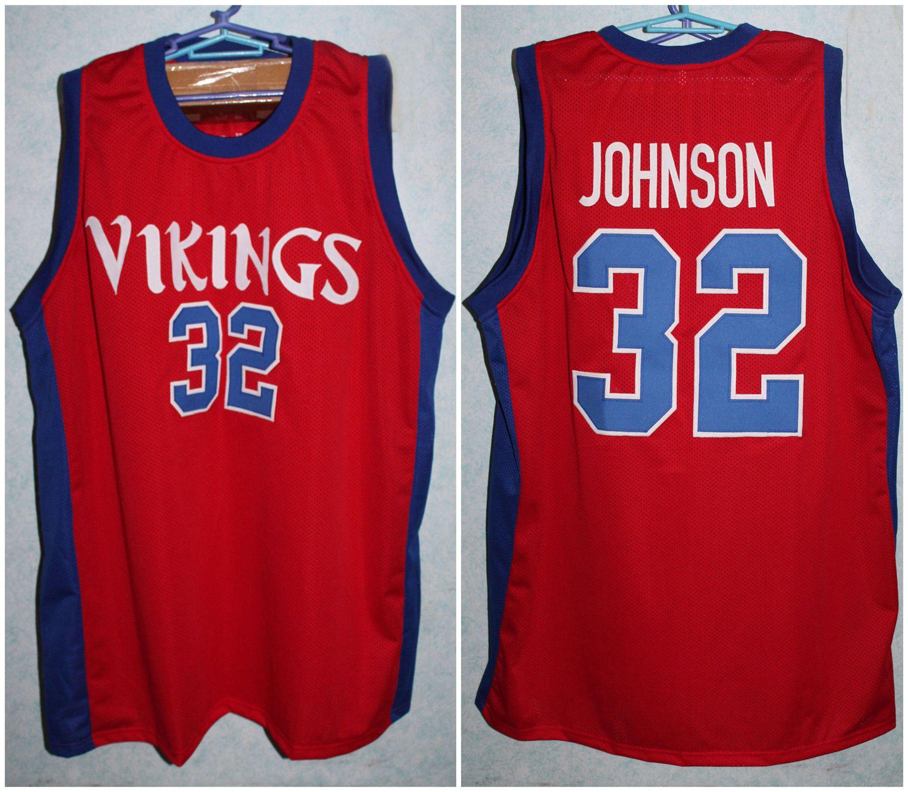 quality design 4310c 32bdb Magic Johnson #32 Lansing Everett High School Vikings Red Retro Basketball  Jerseys Mens Stitched Custom Any Number Name