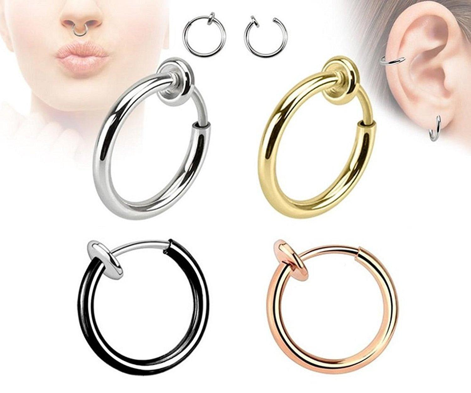 New Silver Gold Color Plated Ear Cuff Clip Earrings Women Men Fake Piercing Septum Lip Clicker Jewelry