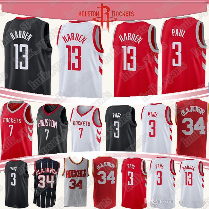 promo code b1091 e4dab Houston 13 Harden Rockets jersey 34 Olajuwon 7 Anthony jerseys 3 Paul high  quality basketball jerseys T shirt