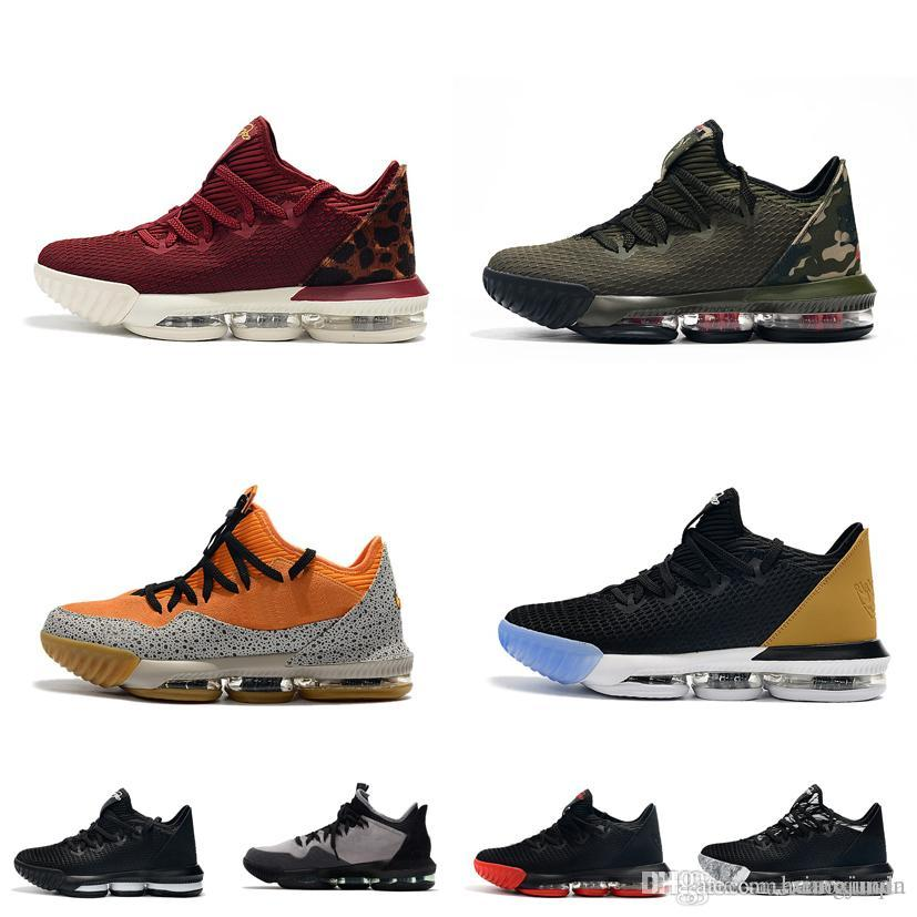 new arrival ac182 8f8bc Cheap mens lebron 16 low basketball shoes for sale Safari Brown Gold Blacks  Camo Army Green youth kids new lebrons sneakers tennis with box