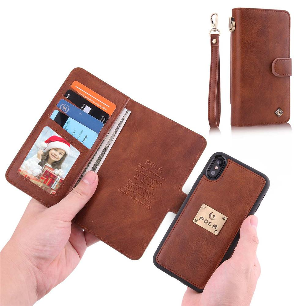 the best attitude b71cf ad2db Multi-Function Wrist Strap Leather Case Women Mirror Wallet Case Stand Card  Slots Magnet Back Cover for iPhone 6 7 8 Plus X XR XS MAX