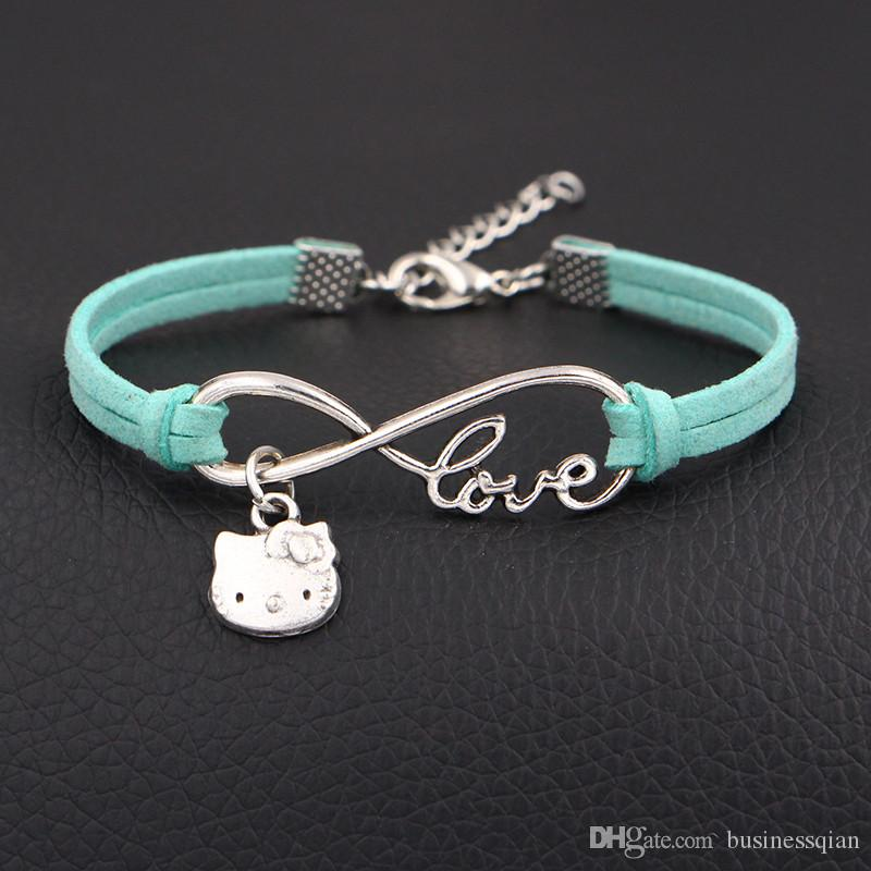 fdd29f0a6 2019 New Hot 100% Hand Woven Fashion Infinity Love Hello Kitty Cat Jewelry  Light Green Leather Rope Braided Cuff Bracelet Bangles Alloy Gift Charms ...