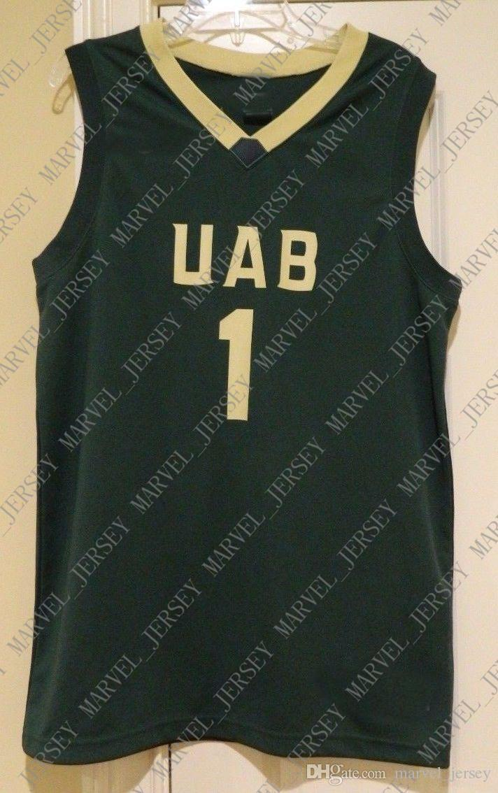super popular 1c85b e0e38 Cheap custom UAB 1 Basketball Jersey Stitched Customize any number name MEN  WOMEN YOUTH XS-5XL