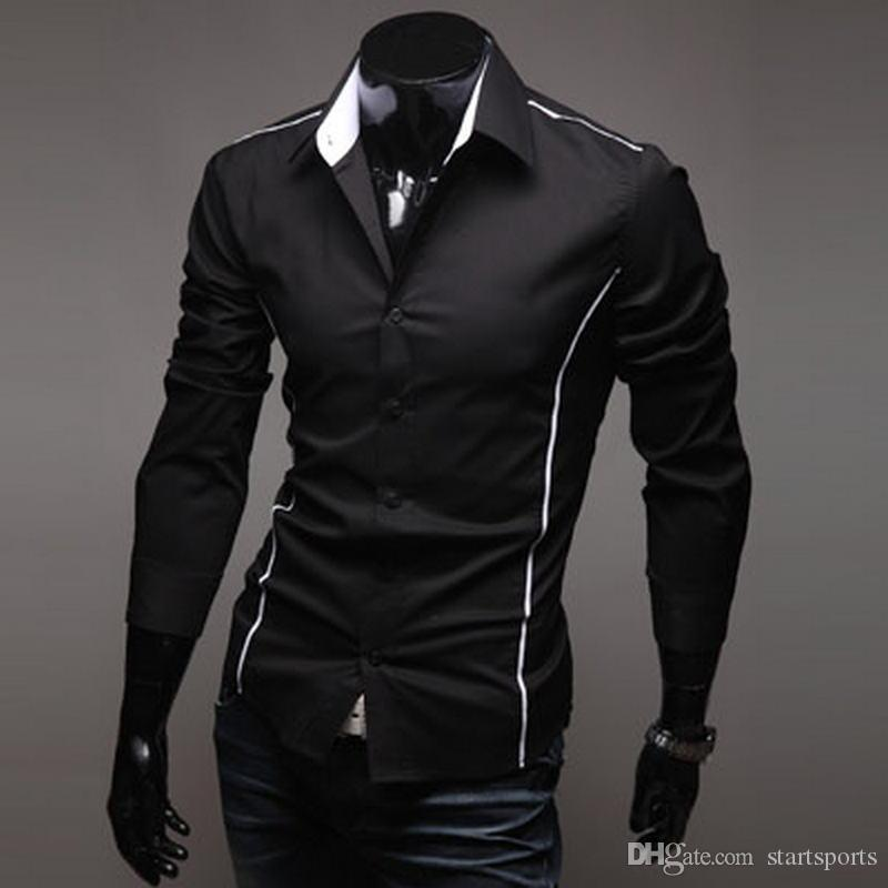 2018 Men's Luxury Stylish Casual Designer Edge Piping Long Sleeve Dress Shirt Muscle Fit Shirts 3 Color 5902 #388349