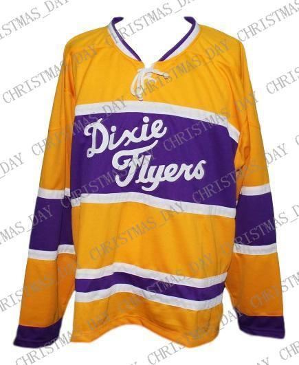separation shoes 9d44c ff76e Custom Dixie Flyers Retro Hockey Jersey New Yellow Personalized stitch any  number any name Mens Hockey Jersey XS-5XL