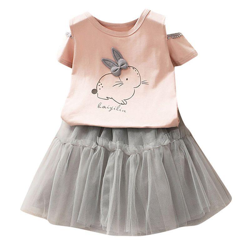ea33b8b8c Compre Ropa Para Niños Ropa Para Niñas Pequeñas Niños Bebés Bebés Conejito  De Dibujos Animados Camiseta Impresa Tops + Tutu Falda Conjunto Ropa Traje  Niños ...