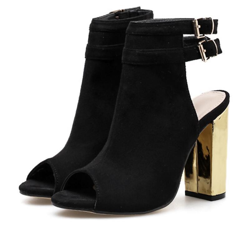 Ws180200 Mujer Abierta Verano Vestir Botines Zapatos Tacones De Para Bombas Club Chaussure Altos Femme Sandalias Chunky Punta OmNy08nPvw