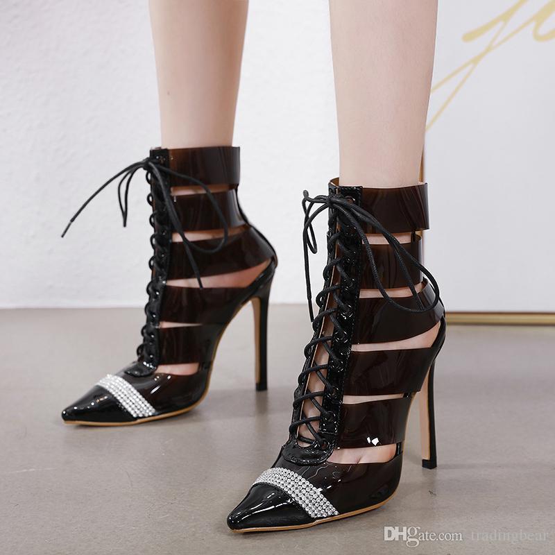 New pointed lace up rhinestone transparent PVC patchwork pumps luxury designer high heel