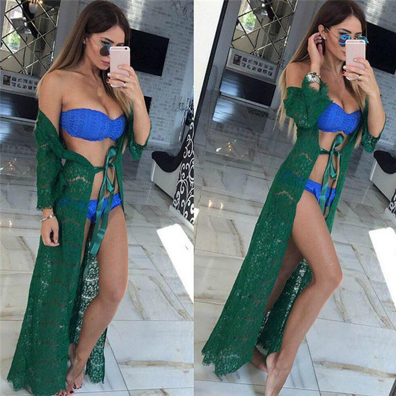 4fca6ffddd46 Vestido de playa hueco 2018 Nuevas mujeres Bikini Cover Up Pareo Playa  traje de baño encaje túnicas de playa Maillot De Bain Femme A30
