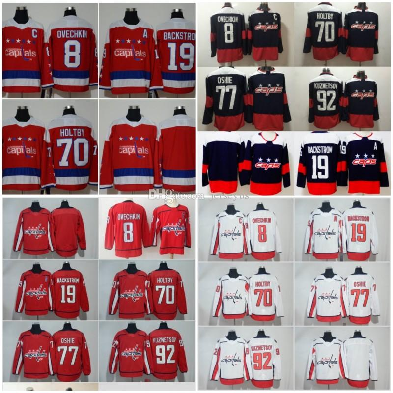 18 19 Stanley Cup Champions Washington Capitals Hockey 8 Alex Ovechkin 77  TJ Oshie 70 Braden Holtby 43Tom Wilson 92 Kuznetsov Hockey Jerseys UK 2019  From ... 3634b7a9e